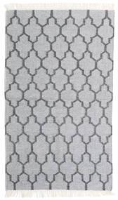 Bamboo Silke Kelim Teppe 90X152 Ekte Moderne Håndvevd Lys Grå/Hvit/Creme (Ull/Bambus Silke, India)