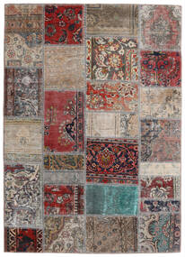 Patchwork - Persien/Iran Teppe 141X198 Ekte Moderne Håndknyttet Lys Grå/Mørk Rød (Ull, Persia/Iran)