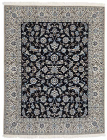 Nain 9La Teppe 203X255 Ekte Orientalsk Håndknyttet Lys Grå/Mørk Grå/Svart (Ull/Silke, Persia/Iran)