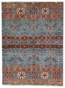 Sharbargan Teppe 106X143 Ekte Moderne Håndknyttet Mørk Brun/Blå (Ull, Afghanistan)