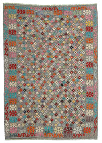 Kelim Afghan Old Style Teppe 168X236 Ekte Orientalsk Håndvevd Lys Grå/Mørk Grå (Ull, Afghanistan)