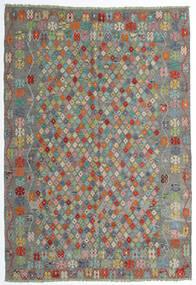 Kelim Afghan Old Style Teppe 208X298 Ekte Orientalsk Håndvevd Mørk Grå/Lys Grå (Ull, Afghanistan)