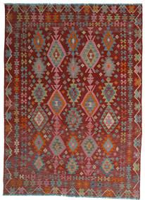Kelim Afghan Old Style Teppe 208X280 Ekte Orientalsk Håndvevd Mørk Rød/Lys Grå (Ull, Afghanistan)