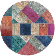 Patchwork - Persien/Iran Teppe Ø 150 Ekte Moderne Håndknyttet Rundt Lilla/Mørk Blå (Ull, Persia/Iran)