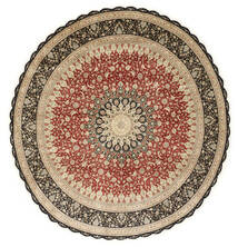 Ghom Silke Teppe Ø 203 Ekte Orientalsk Håndknyttet Rundt Lysbrun/Mørk Beige (Silke, Persia/Iran)
