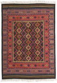 Kelim Marmaris Teppe 160X230 Ekte Moderne Håndvevd Mørk Rød/Svart (Ull, India)