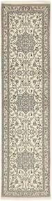 Nain 9La Teppe 73X290 Ekte Orientalsk Håndknyttet Teppeløpere Lys Grå/Beige (Ull/Silke, Persia/Iran)