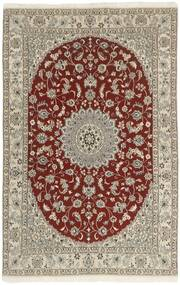 Nain 9La Teppe 133X213 Ekte Orientalsk Håndknyttet Lys Grå/Mørk Rød (Ull/Silke, Persia/Iran)