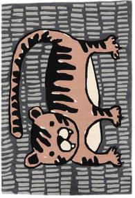 Cool Cat - Grå/Pink Teppe 120X180 Moderne Mørk Grå/Lys Grå (Ull, India)