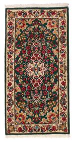 Kerman Teppe 58X117 Ekte Orientalsk Håndknyttet Mørk Grønn/Mørk Rød (Ull, Persia/Iran)