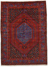 Zanjan Teppe 151X206 Ekte Orientalsk Håndknyttet Mørk Rød/Svart (Ull, Persia/Iran)