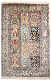 Kashmir Ren Silke Teppe 93X143 Ekte Orientalsk Håndknyttet Lys Grå/Brun (Silke, India)