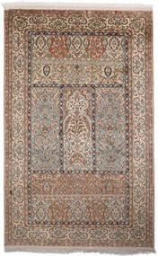 Kashmir Ren Silke Teppe 97X153 Ekte Orientalsk Håndknyttet Mørk Brun/Mørk Grå (Silke, India)