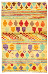 Moroccan Berber - Afghanistan Teppe 93X141 Ekte Moderne Håndknyttet Gul/Orange (Ull, Afghanistan)