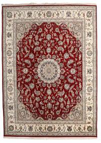 Nain Indisk Teppe 244X338 Ekte Orientalsk Håndknyttet Lys Grå/Mørk Rød ( India)