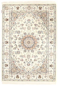 Nain Indisk Teppe 127X182 Ekte Orientalsk Håndknyttet Beige/Lys Grå ( India)