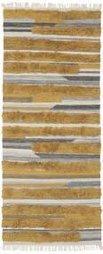 Sunny - Gul Teppe 100X250 Ekte Moderne Håndvevd Teppeløpere Brun/Mørk Brun (Ull, India)