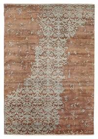 Damask Indisk Teppe 172X245 Ekte Moderne Håndknyttet Brun/Lys Grå (Ull/Bambus Silke, India)