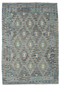 Kelim Afghan Old Style Teppe 127X180 Ekte Orientalsk Håndvevd Lys Grå/Mørk Grå/Grønn (Ull, Afghanistan)