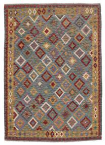 Kelim Afghan Old Style Teppe 180X248 Ekte Orientalsk Håndvevd Mørk Brun/Svart (Ull, Afghanistan)