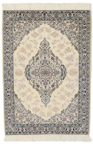 Nain 9La Teppe 100X146 Ekte Orientalsk Håndknyttet Mørk Grå/Lysbrun (Ull/Silke, Persia/Iran)