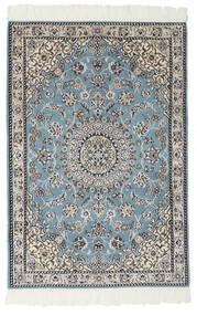Nain 9La Teppe 80X117 Ekte Orientalsk Håndknyttet Svart/Lys Grå (Ull/Silke, Persia/Iran)