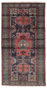 Hamadan Teppe 106X196 Ekte Orientalsk Håndknyttet Svart/Mørk Brun (Ull, Persia/Iran)